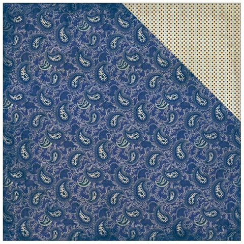 Authentique Paper - Rugged Double-Sided Cardstock - #4 Navy & Antique Paisley/Mini Dot
