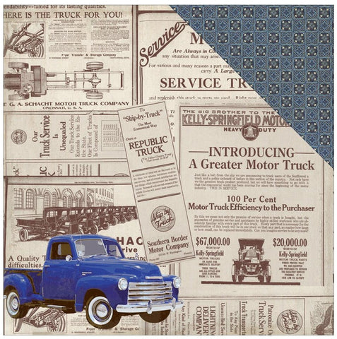 ***Pre-Order*** Authentique Paper - Rugged Double-Sided Cardstock - #7 Old Truck Newspaper/Celtic Geometric