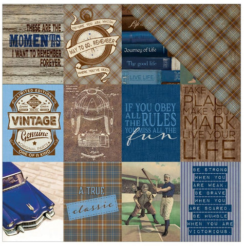 "Authentique Paper - Rugged Double-Sided Cardstock - #8 Cut-Apart 3"" x 4"" Cards/Diamond Plaid"