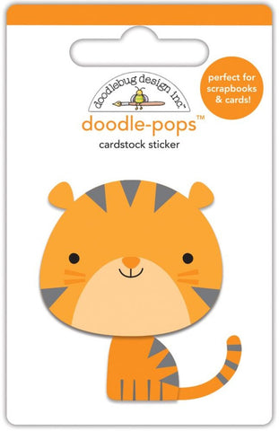 Doodlebug - Doodle-Pops Cardstock Stickers - At The Zoo Tommy Tiger