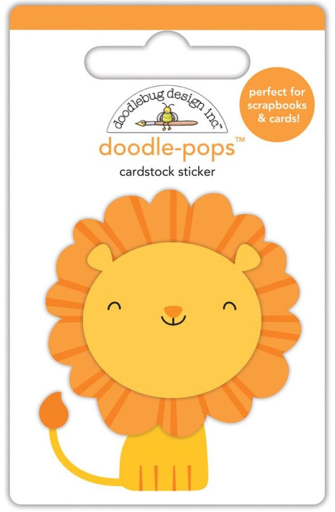 Doodlebug - Doodle-Pops Cardstock Stickers - At The Zoo Leo Lion