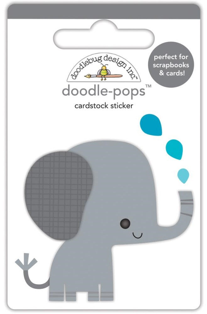 Doodlebug - Doodle-Pops Cardstock Stickers - At The Zoo Eddie Elephant