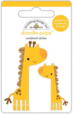 Doodlebug - Doodle-Pops Cardstock Stickers - At The Zoo Jenny & Jojo Giraffe (Available: March 31, 2017)