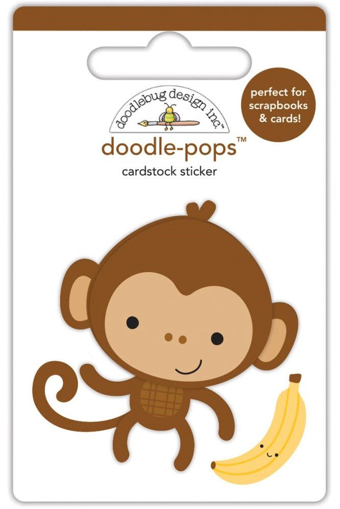 Doodlebug - Doodle-Pops Cardstock Stickers - At The Zoo Monkey Mike