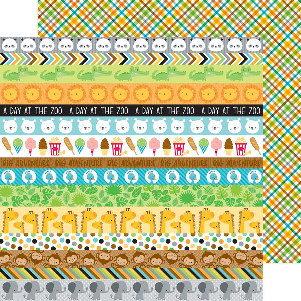 Doodlebug - At The Zoo Double-Sided Cardstock - Safari Plaid