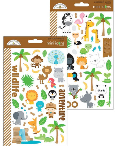 Doodlebug - At The Zoo Stickers - Mini Icons