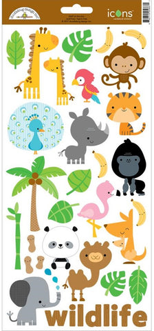 "Doodlebug - At The Zoo Cardstock Stickers 6"" x 13"" - Icons #1 (Available: March 31, 2017)"