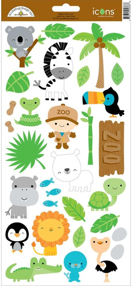 "Doodlebug - At The Zoo Cardstock Stickers 6"" x 13"" - Icons #2"