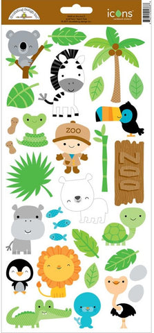 "Doodlebug - At The Zoo Cardstock Stickers 6"" x 13"" - Icons #2 (Available: March 31, 2017)"