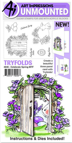 Art Impressions - Mini Tryfolds Cling Rubber Stamps - Celebrate Spring