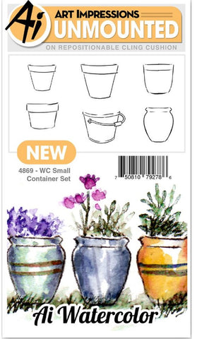 Art Impressions - Watercolor Cling Rubber Stamps - Small Container