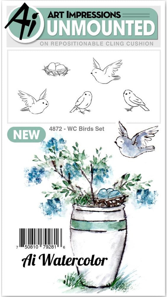 Art Impressions - Watercolor Cling Rubber Stamps - Birds