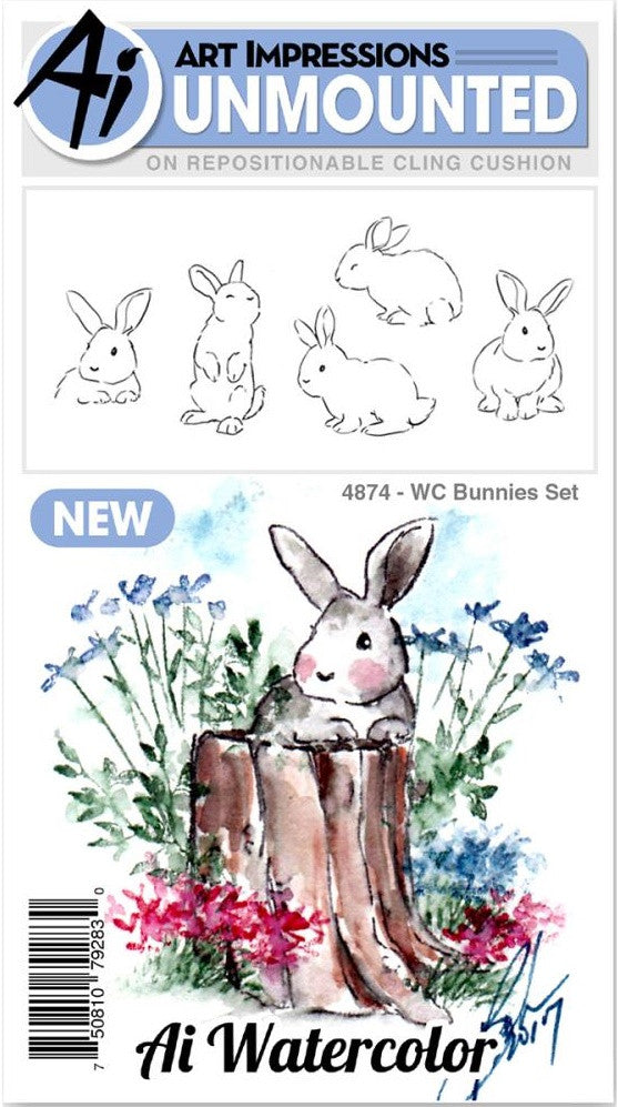 Art Impressions - Watercolor Cling Rubber Stamps - Bunnies