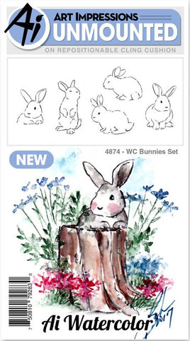 ***Pre-Order*** Art Impressions - Watercolor Cling Rubber Stamps - Bunnies