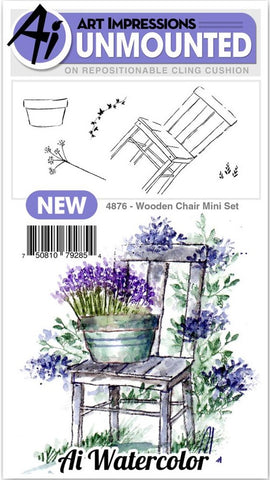 Art Impressions - Watercolor Cling Rubber Stamps - Mini Wooden Chair
