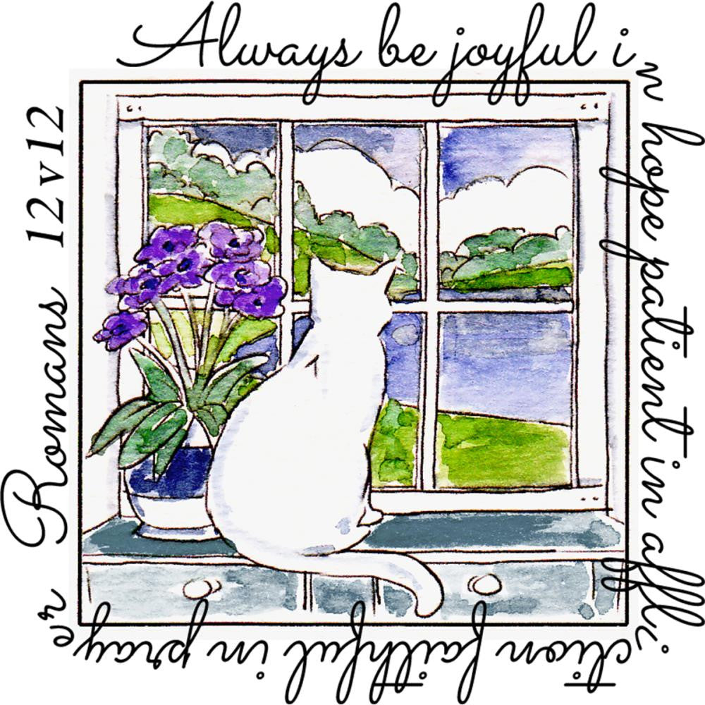 Art Impressions - Windows To The World Cling Stamps - Be Joyful