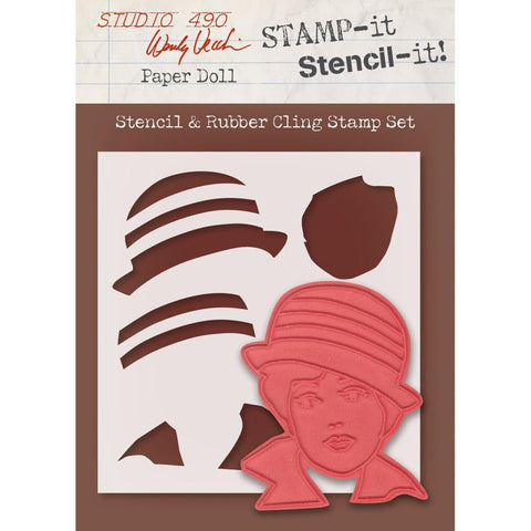"Studio 490 Stamp It Stencil It 7""X8.5"" - Paper Doll"