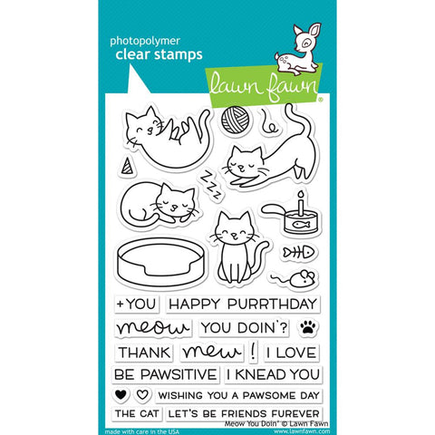 Pre Order Lawn Fawn - Photopolymer Clear Stamps - Meow You Doin' (coordinates with Meow You Doin' Die Set)