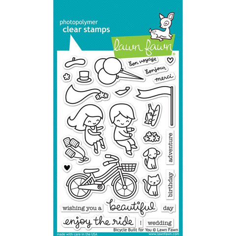 Lawn Fawn - Photopolymer Clear Stamps - Bicycle Built For You (coordinates with Bicycle Built For You Die Set)