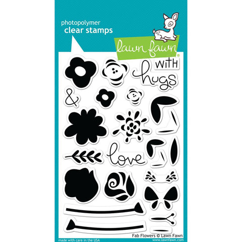 Lawn Fawn - Photopolymer Clear Stamps - Fab Flowers (coordinates with Fab Flowers Die Set)