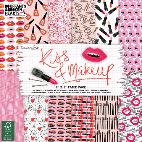 "Dovecraft Paper Pad 8""X8"" 48/Pkg Kiss & Make Up"
