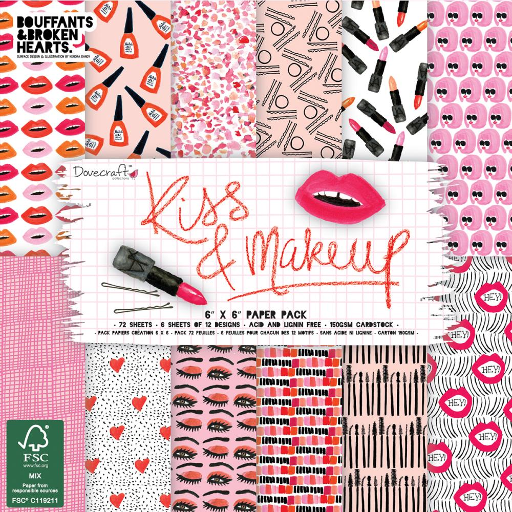 "Dovecraft Paper Pad 6""X6"" 72/Pkg Kiss & Make Up"
