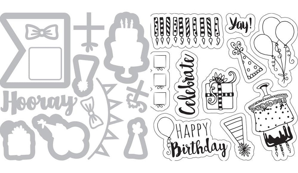 Sizzix - Framelits Dies with Stamps By Katelyn Lizardi - Birthday Planner