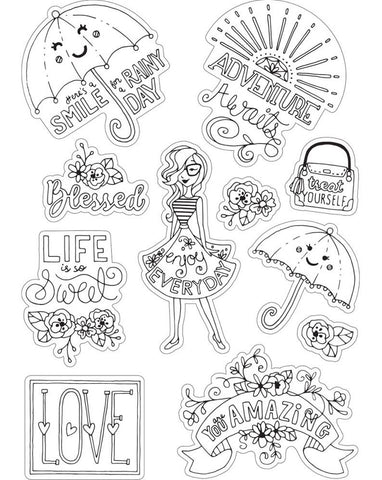 ***Pre-Order*** Sizzix - Coloring Stickers By Katelyn Lizardi - Enjoy Every Day
