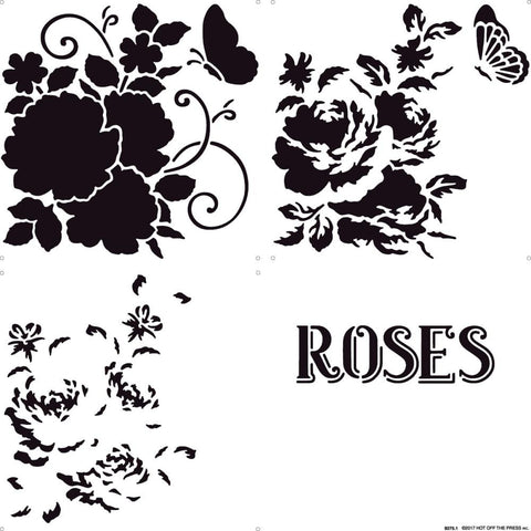"Hot Off The Press Stencil 12""X12"" - Layering Roses"