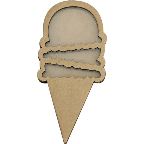 "Clear Scraps Chipboard & Acrylic Shaker Shape 3.5""X4.5""Ice Cream (Shaker Card)"