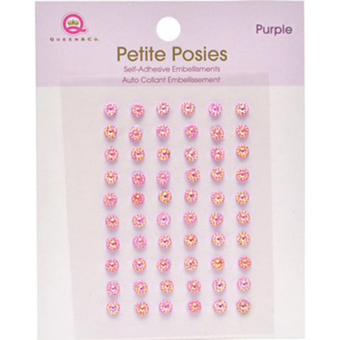 Queen & Co Petite Posies Self-Adhesive Embellishments Purple   (Shaker Card)