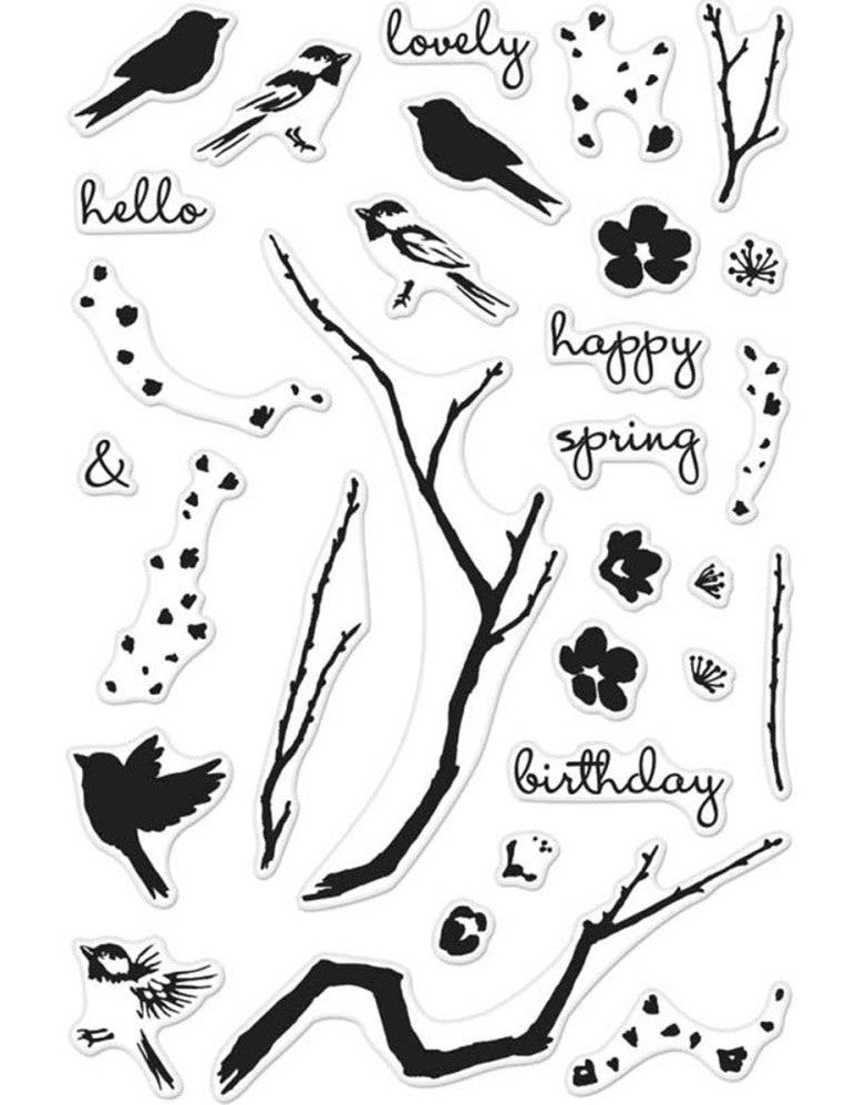 Hero Arts - Clear Stamps - Color Layering Birds & Blossoms