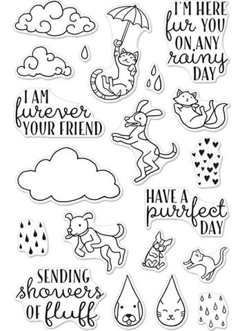 Hero Arts - Clear Stamps - Raining Cats & Dogs