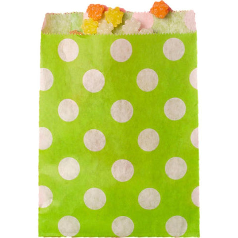 "SRM Merchandise Bags 5.13""X6.38"" 12/Pkg - Lime Green W/White Dots"