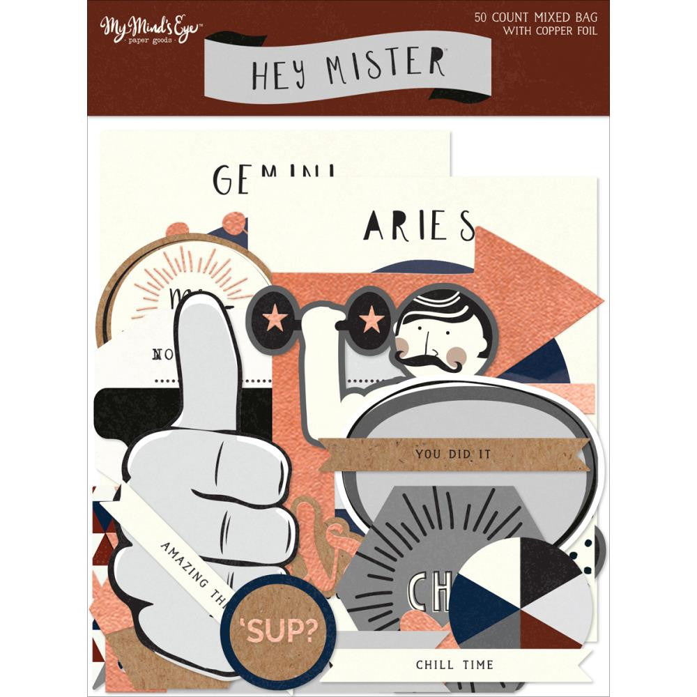 My Mind's Eyes - Hey Mister Mixed Bag Cardstock Die-Cuts 50/Pkg - W/Copper Foil