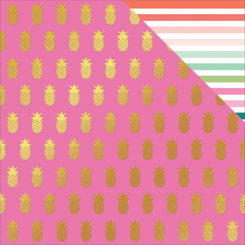 "My Mind's Eyes - Palm Beach Foiled Double-Sided Cardstock 12""X12""- Pineapple W/Gold"