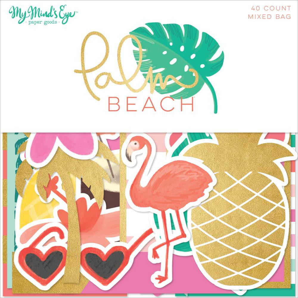 My Mind's Eyes - Palm Beach Mixed Bag Cardstock Die-Cuts 40/Pkg - W/Gold Foil