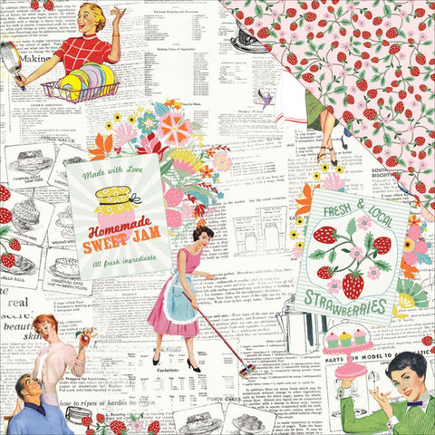 Authentique Paper - Saucy Double-Sided Cardstock - #4 Retro Housewife Newsprint/Strawberry