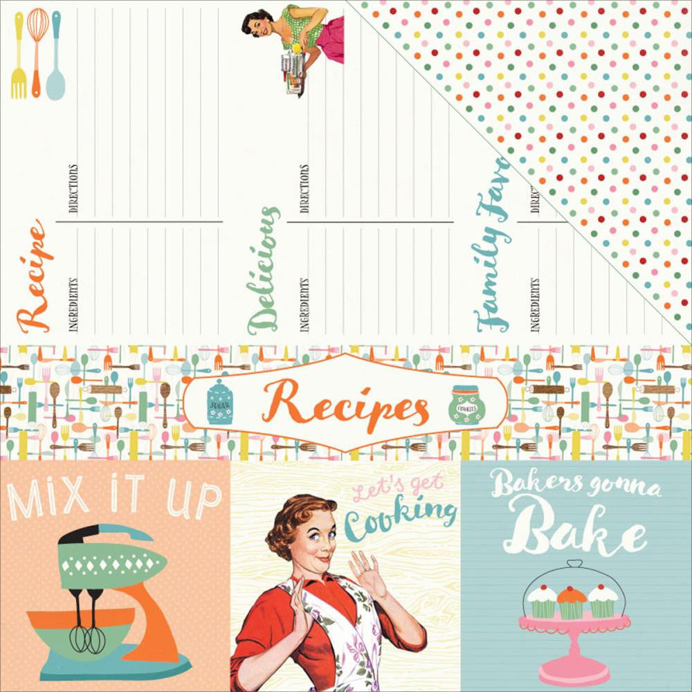 "Authentique Paper - Saucy Double-Sided Cardstock - #7 Cut-Apart Recipe & 4""X4"" Cards/Dots (Available: March 25, 2017)"