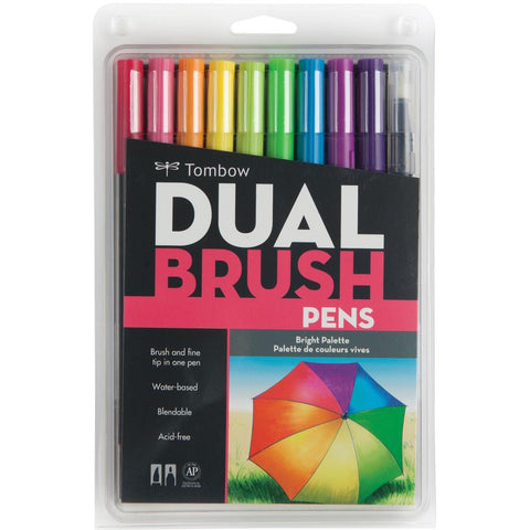 (Top 100)  Tombow - Dual Brush Markers 10/Pkg - Bright