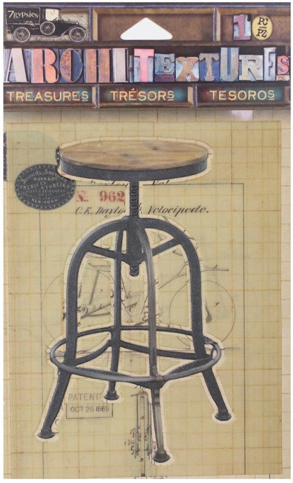 7Gypsies - Architextures Treasures - Drafting Stool 4""