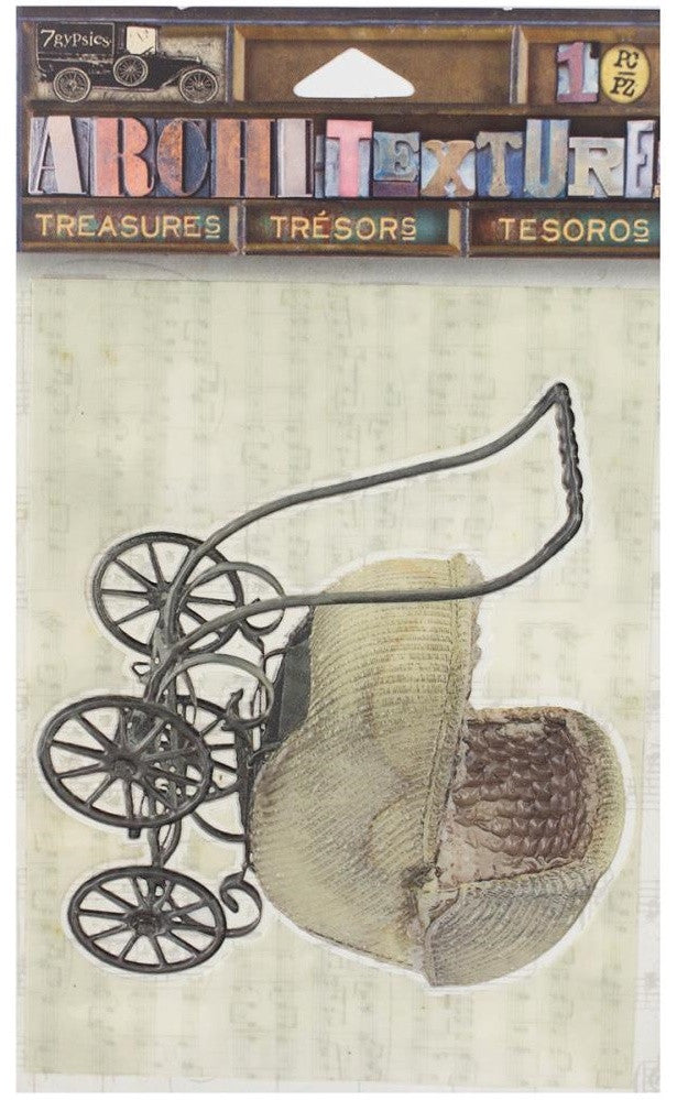 7Gypsies - Architextures Treasures - Wicker Baby Carriage Wicker Woven Baby Carriage 3.25""