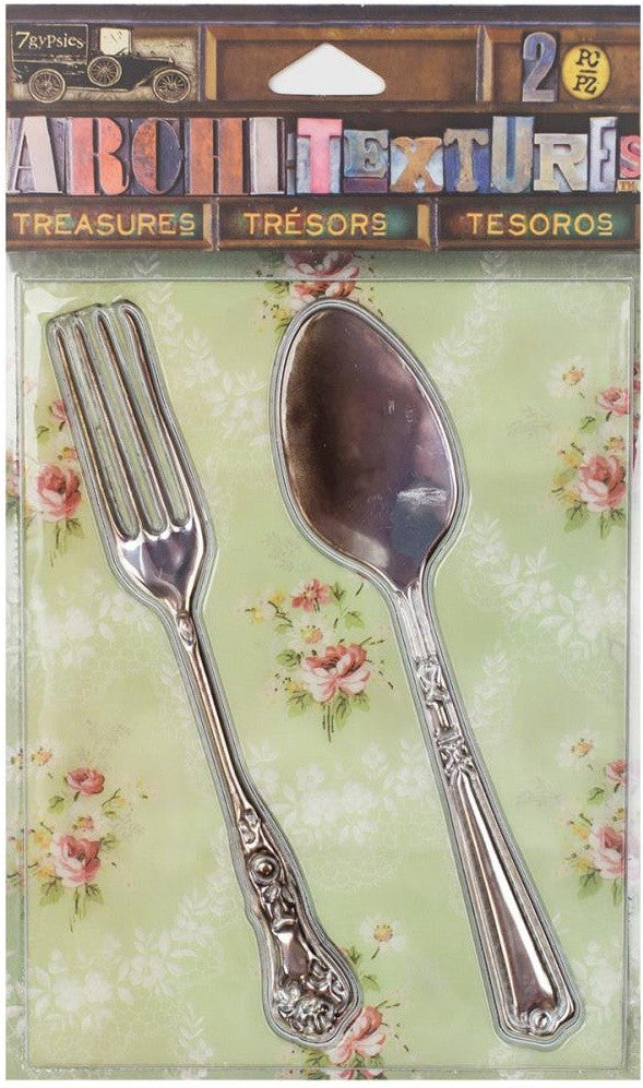 7Gypsies - Architextures Treasures - Tarnished Silver Fork & Spoon 4""