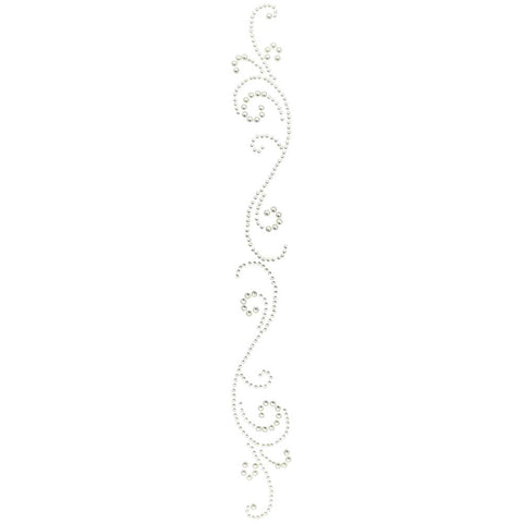 Pre-Order - Want2Scrap Self-Adhesive Finesse Swirls Bling - White Pearls