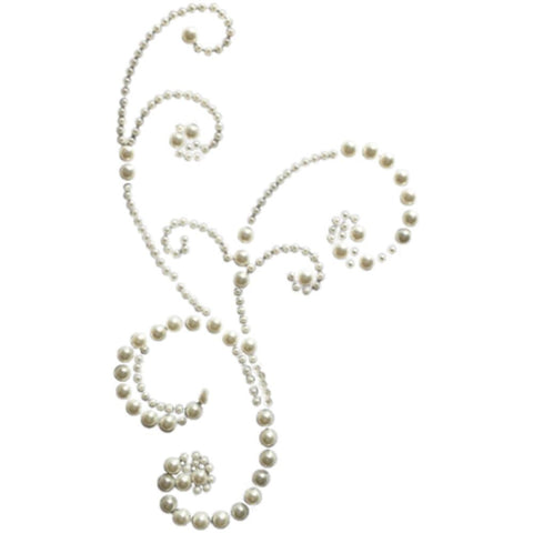 Pre-Order - Want2Scrap Self-Adhesive Frilly Flourish Swirls Bling - White Pearls