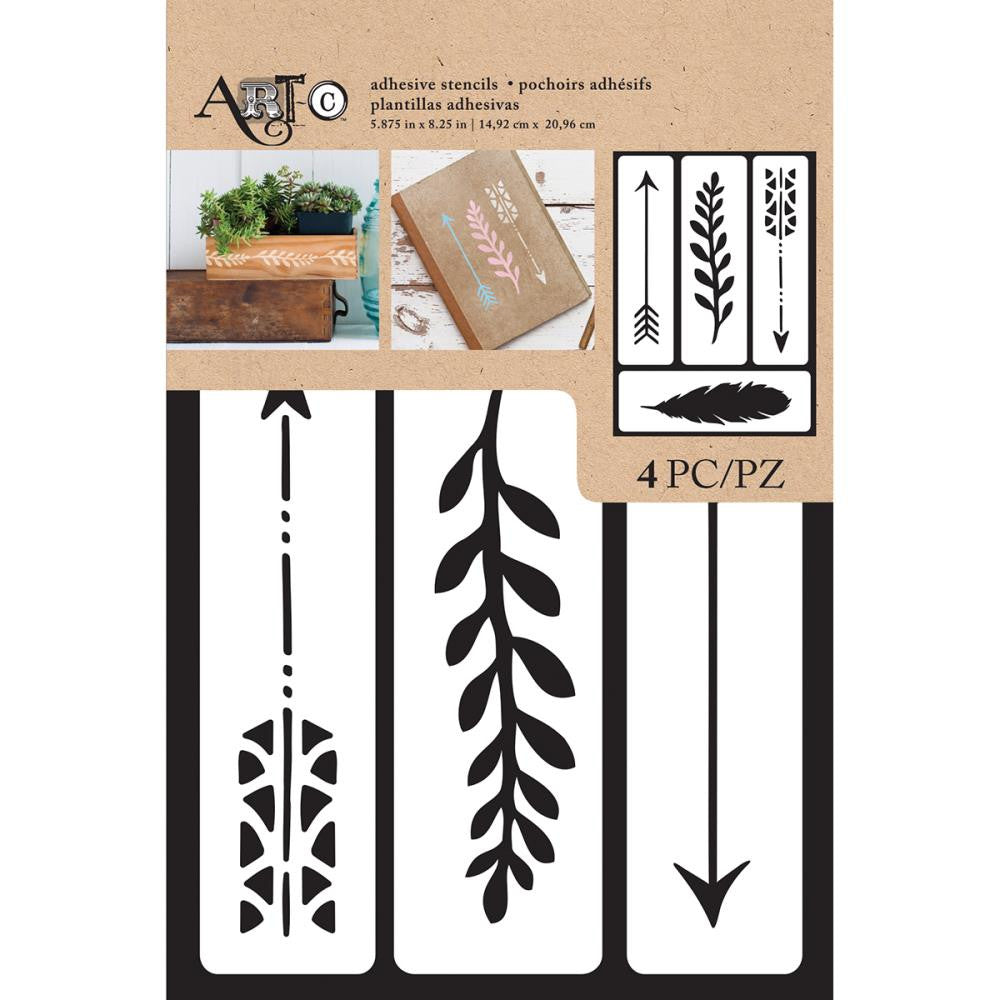 "Art-C Adhesive Stencil 6""X9"" 14pcs - Arrow/Feather, 4pcs"