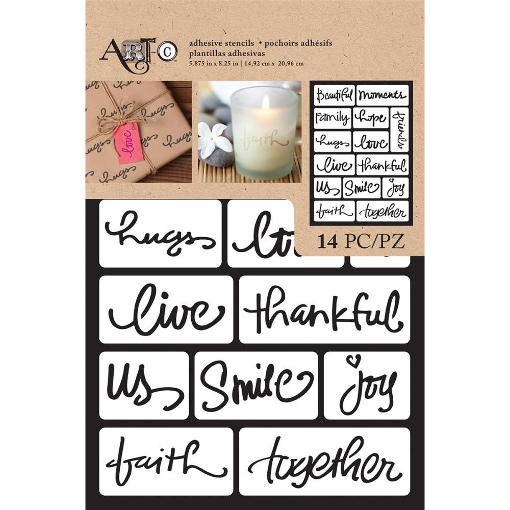 "Art-C Adhesive Stencil 6""X9"" 14pcs - Beautiful Words"