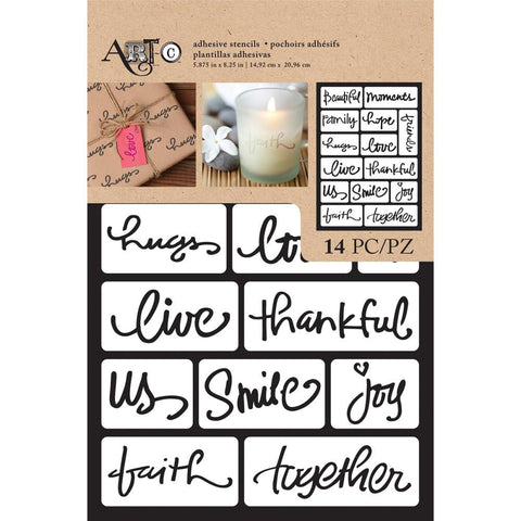 "(Pre-Order) Art-C Adhesive Stencil 6""X9"" 14pcs - Beautiful Words"