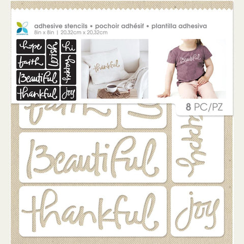 "Momenta Adhesive Fabric Stencil 8""X8.75"" - Script Words"