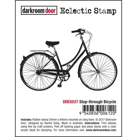 "Darkroom Door - Cling Stamps 3""X2"" - Step Through Bicycle"